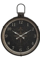"34""L x 4""W x 41""H Metal Wall Clock w/ Compass Image"