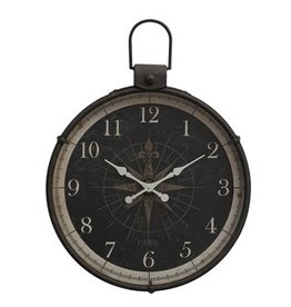 "Creative Co-Op 34""L x 4""W x 41""H Metal Wall Clock w/ Compass Image"