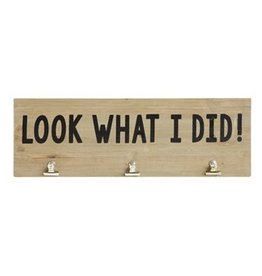 "Creative Co-Op 23-1/2""L x 7-3/4""H Wood & MDF Wall Decor w/ 3 Metal Clips ""Look What I Did!"""