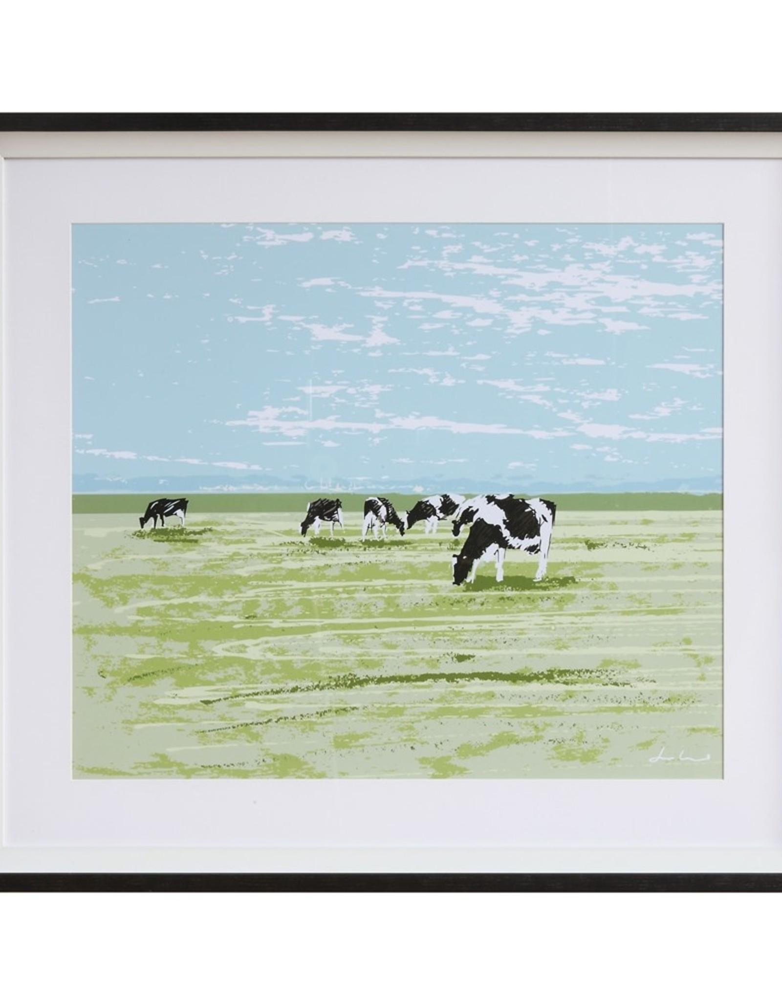 """30-3/4""""L x 27-1/4""""H Framed Wall Decor w/ Cow"""