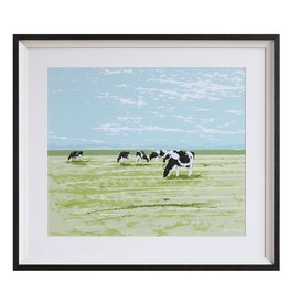 "Creative Co-Op 30-3/4""L x 27-1/4""H Framed Wall Decor w/ Cow"