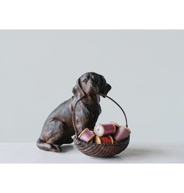 "8-1/4""L x 5-1/2""W x 7""H Resin Dog w/ Basket"