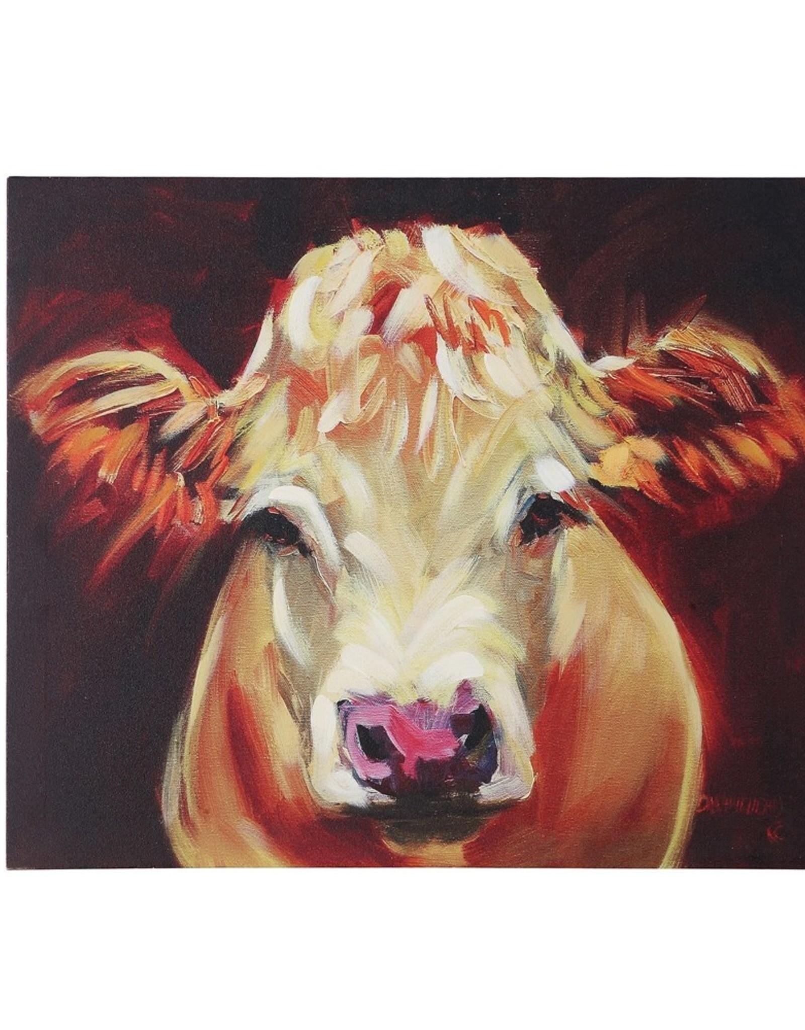 "24""L x 20""H Canvas Wall Decor w/ Cow"