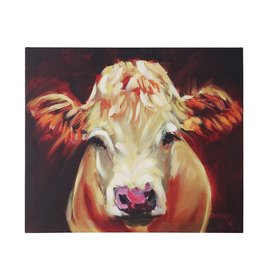 "Creative Co-Op 24""L x 20""H Canvas Wall Decor w/ Cow"
