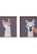 "18"" Square Wood Framed Wall Decor w/ Llama, 2 Styles"
