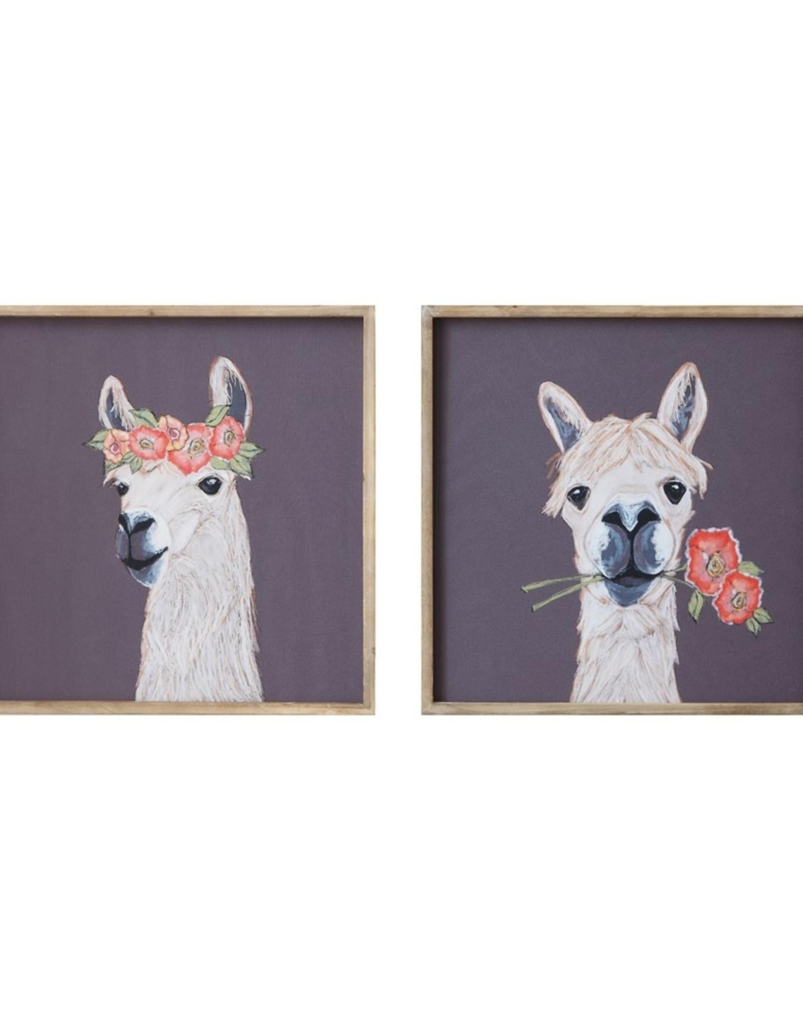 "Creative Co-Op 18"" Square Wood Framed Wall Decor w/ Llama, 2 Styles"