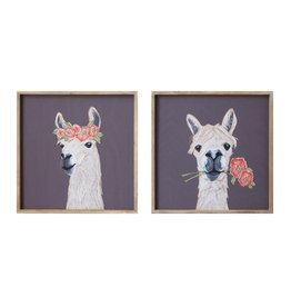 "Creative Co-Op 18"" Square Wood Framed Wall Decor w/ Llama, 2 Styles"