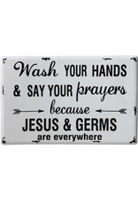 """Creative Co-Op 16""""L x 10-1/4""""H Metal Wall Decor """"Wash Your Hands"""""""