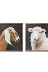 "Creative Co-Op 20"" Square Wood Framed Wall Decor w/ Farm Animals, 2 Styles"