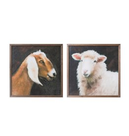 "Creative Co-Op 20"" Square Wood Framed Wall Decor w/ Farm Animals, 2 Styles"