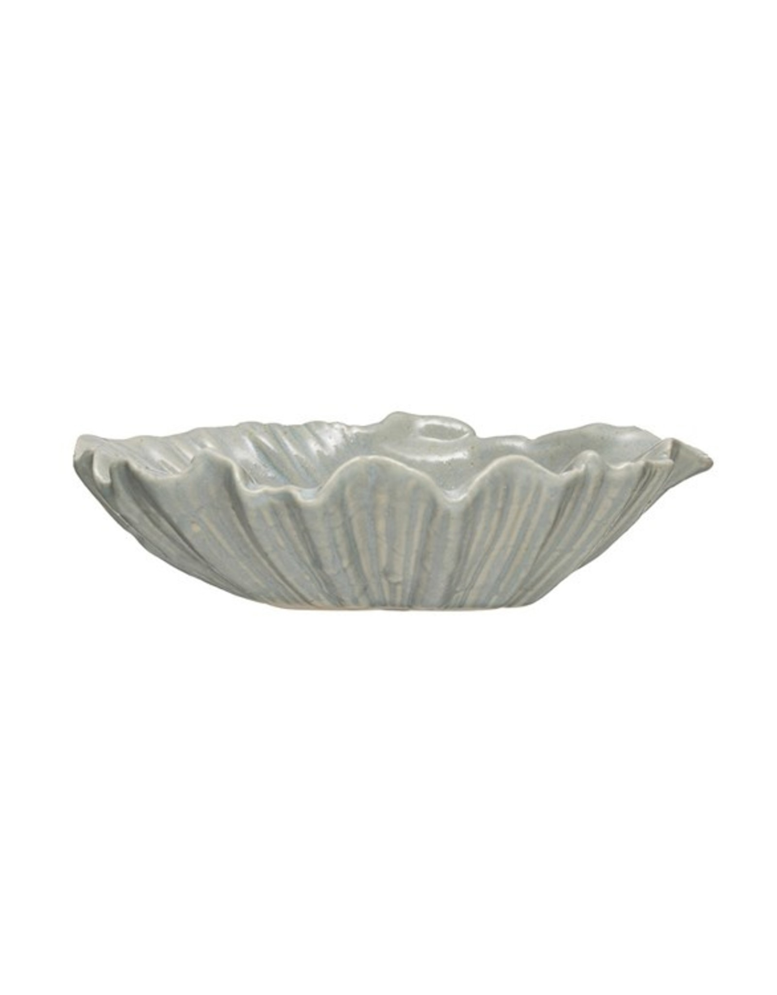 "Creative Co-Op 8-1/2""L x 7""W x 2-1/2""H Stoneware Shell Dish, Reactive Glaze, Blue (Each One Will Vary)"