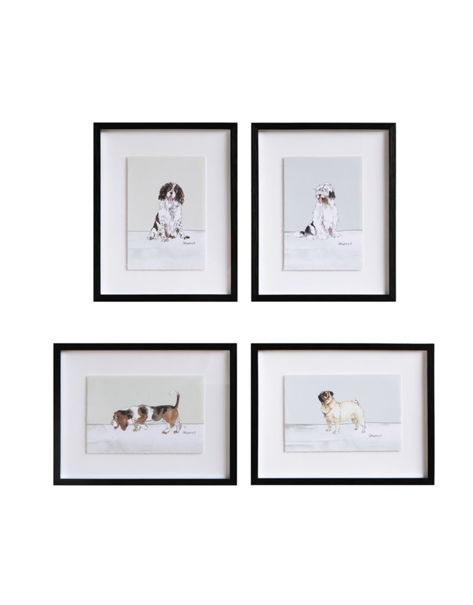 "Creative Co-Op 15-1/4""L x 12""H Framed Wall Decor w/ Dog, 4 Styles"
