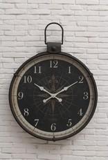 """34""""L x 4""""W x 41""""H Metal Wall Clock w/ Compass Image"""