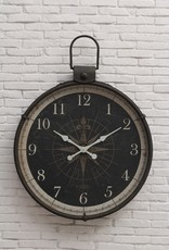"Creative Co-Op 34""L x 4""W x 41""H Metal Wall Clock w/ Compass Image"
