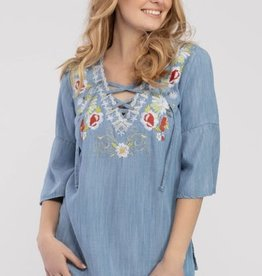 Tribal Tribal 3/4 Bell Embroidered Tunic