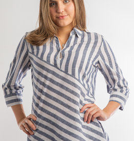 Bleu Bayou Diagonal Stripe Tunic W. Vertical 3/4 Sleeves