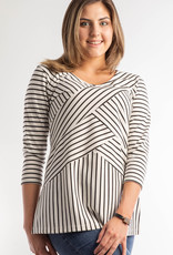 Mitered Stripe Tunic 3/4 Sleeve