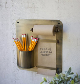 Kalalou Note Roll With Antique Brass Wall Rack w/ Pencil Holder