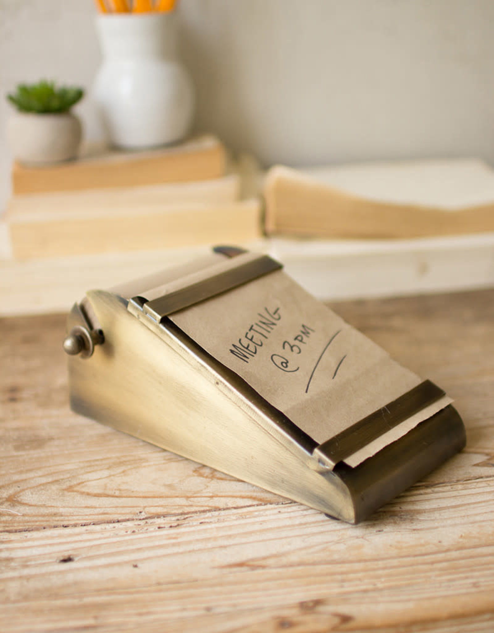 Kalalou Desktop Note Roll with Antique Brass Holder