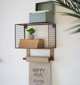 Kalalou WIRE MESH METAL SHELF WITH NOTE ROLL