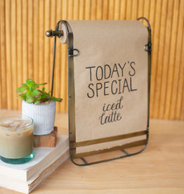 Kalalou ANTIQUE BRASS TABLETOP NOTE ROLL WITH EASEL