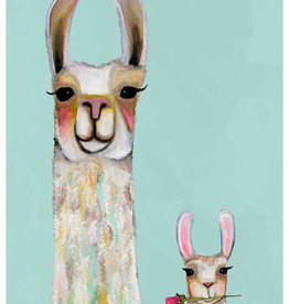 Greenbox Art Llama Mama & Baby-Soft Aqua 14 x18