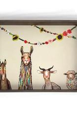 Greenbox Art Donkey Llama Goat Sheep Wooden Tray 18x13x2