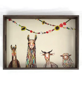 Greenbox Art Donkey Llama Goat Sheep Wooden Tray 18x13x2