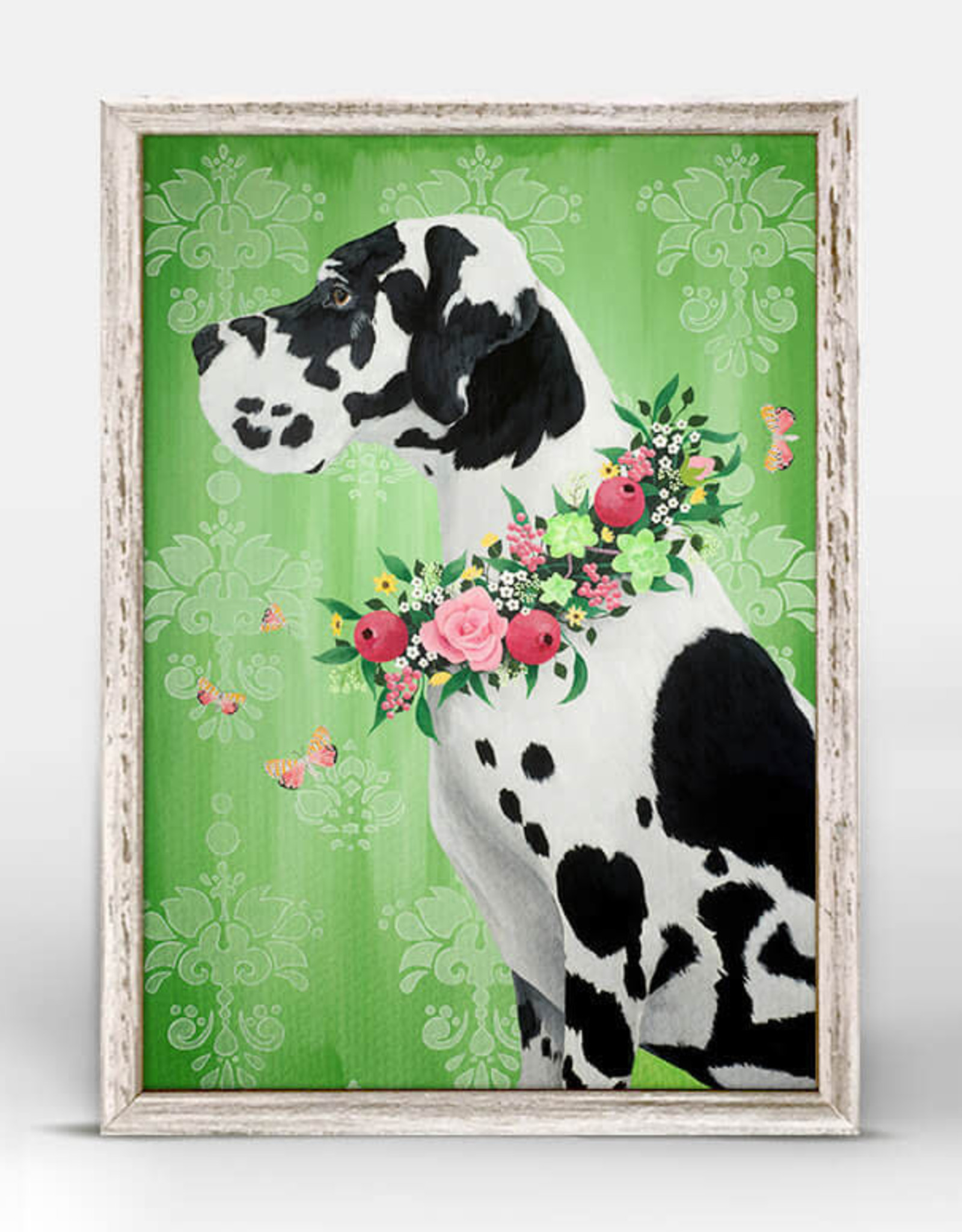 Greenbox Art Great Dane On Green Mini Framed Canvas 5 x 7