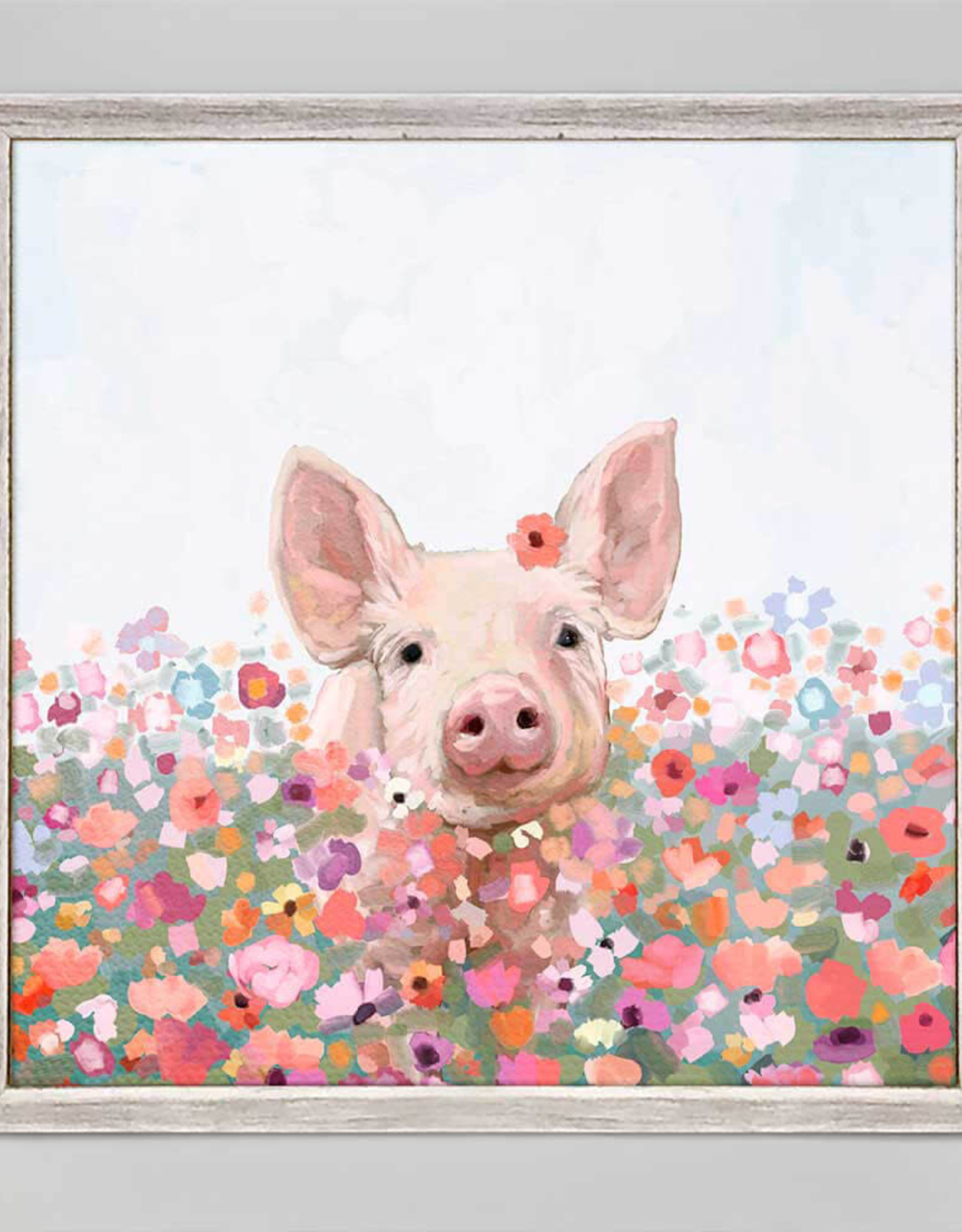 Greenbox Art Wildflower Pig Mini Framed Canvas 6 x 6