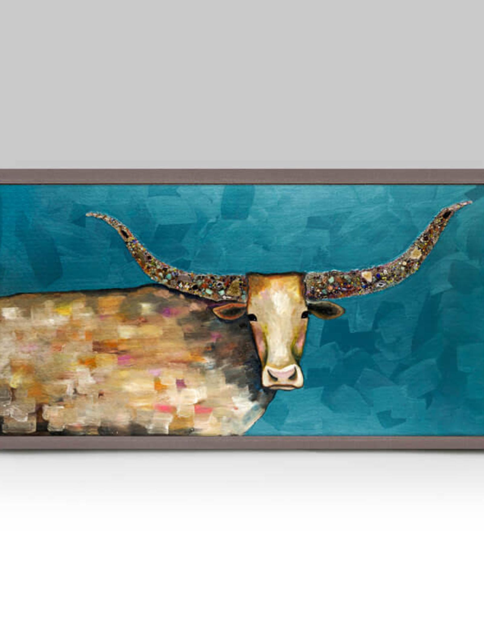 Greenbox Art Longhorn Geode -Blue Mini Framed Canvas 10x5