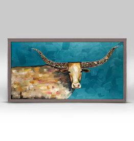 Greenbox Art Longhorn Geode -Blue Mini Framed Canvas 10x5