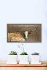 Greenbox Art Longhorn Geode -Tribal Copper Mini Framed Canvas 10x5