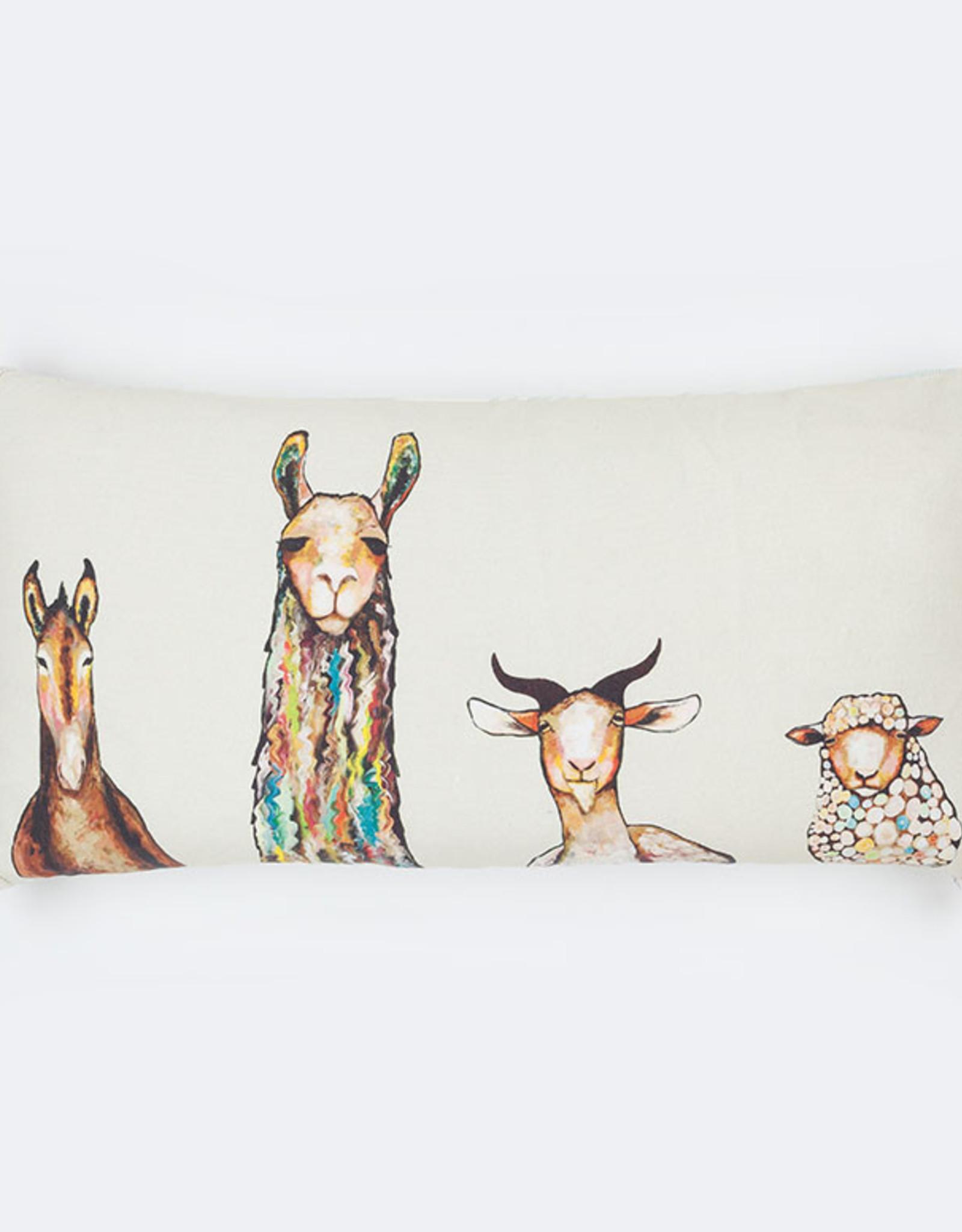 Greenbox Art Donkey Llama Goat Sheep on Cream Pillow 28x14