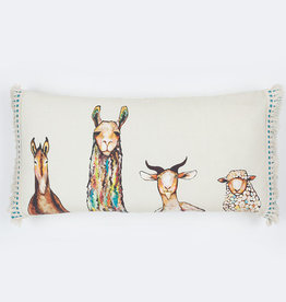 Greenbox Art Donkey Llama Goat Sheep on Cream Pillow 28x14