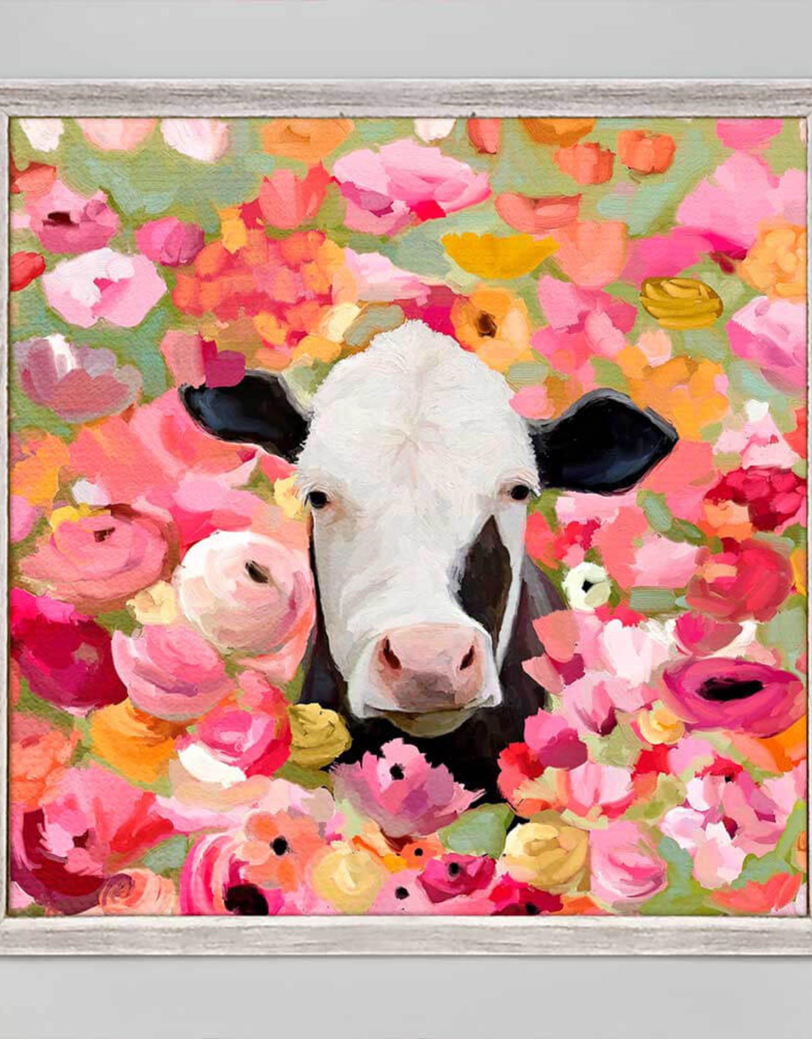 Greenbox Art Wildflower Cow Mini Framed Canvas 6 x 6