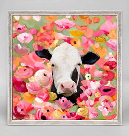 Greenbox Art Wildflower Cow Mini Framed Canvas 6 x 6
