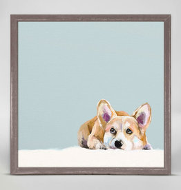 Greenbox Art Best Friend- Contemplative Corgi Mini Framed Canvas 6 x 6