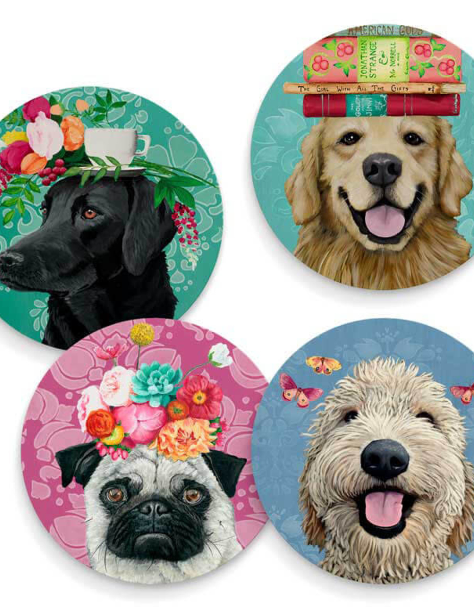 Greenbox Art Happy Dogs-Set Of 4 Coasters