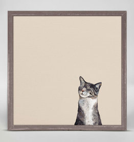 Greenbox Art Feline Friends -Happy Tabby Mini Framed Canvas 6x6