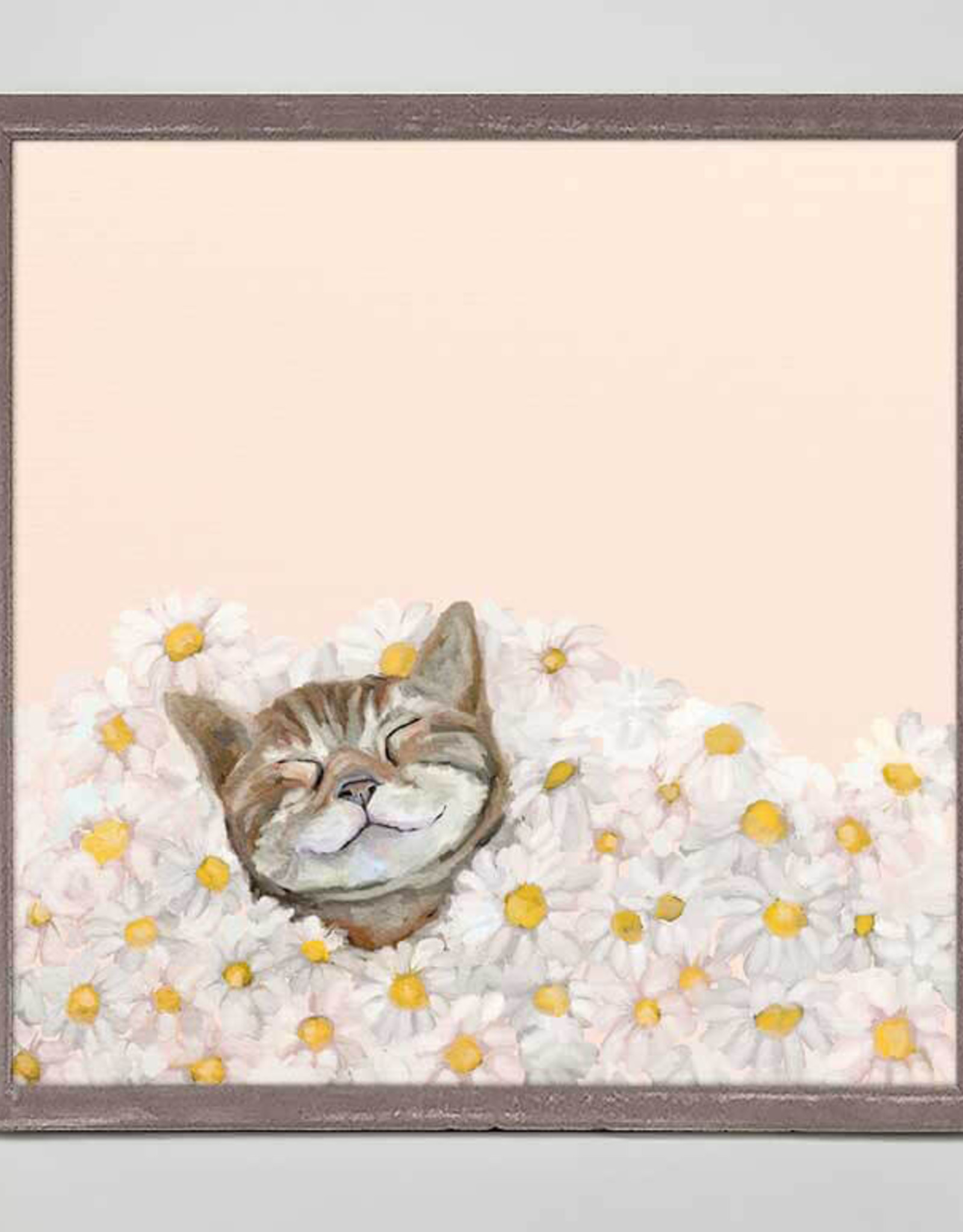 Greenbox Art Feline Friends -Happy As A Cat In Daisies Mini Framed Canvas 6x6
