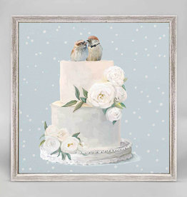 Greenbox Art Wedding Birds Rustic White Mini Framed Canvas 6x6