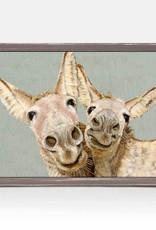 Greenbox Art Los Dos Donkeys- Green Mini Framed Canvas 5x7