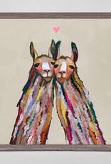 Greenbox Art Llama Love- Neutral- Mini Framed Canvas 5x7
