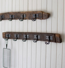 Kalalou Recycled Wood Coat Rack with Five Wire Hooks