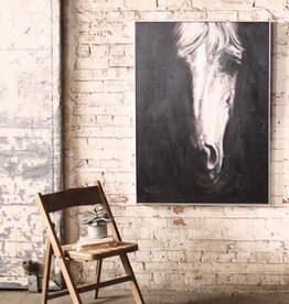 Kalalou Oil Painting \ Black & White Front View Horse w/ silver frame
