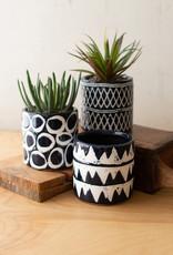 Kalalou Set of 3 Navy Ceramic Pattern Planters