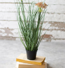 Kalalou Artificial Potted Onion Grass with two flowers