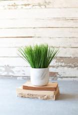 Kalalou Artificial Grass in a Faux Marble Pot