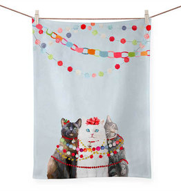 Greenbox Art Holiday-Festive Cat Trio Tea Towel